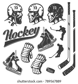 Set of hockey design elements in vintage retro style. Head in helmet, stick, gloves, skates, puck and silhouettes of hockey players in the game.