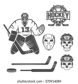 Set of hockey elements. Puck, stick, helmet, goalkeeper. Vintage logo vector.