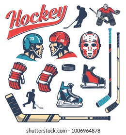 Set of hockey equipment in retro style: player head in helmet, gloves, sticks, vintage goalie mask, goalkeeper, puck, skates, silhouettes.