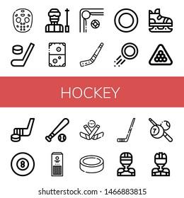 Set of hockey icons such as Hockey mask, Hockey, Ski, Air Billiard, stick, Puck, Ice skate, Baseball ball, Sticks, Ice player ,