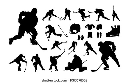 Set of Hockey Player silhouette