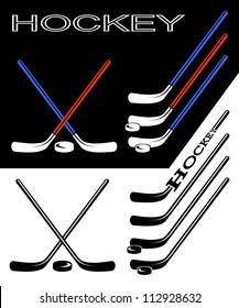 Set of hockey sticks on black and white backgrounds.