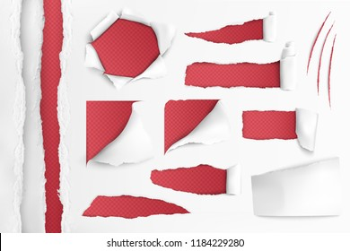 Set of holes in white paper with ripped edges over red background realistic vector illustration
