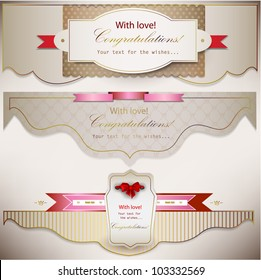 Set of holiday banners with ribbons. Vector background