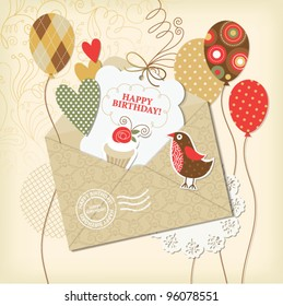 set of holiday elements, greeting birthday card