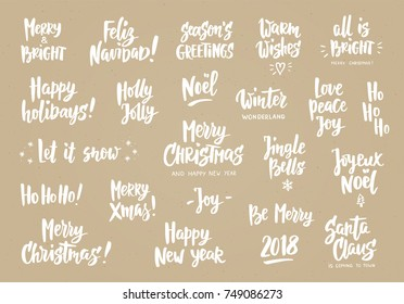 Holiday greeting quotes wishes hand drawn stock vector royalty free set of holiday greeting quotes and wishes hand drawn text brush lettering merry m4hsunfo