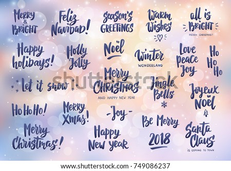 Set Holiday Greeting Quotes Wishes Hand Stock Vector Royalty Free Adorable Holiday Wishes Quotes