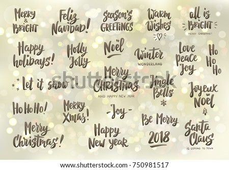 Set Holiday Greeting Quotes Wishes Hand Stock Vector (Royalty Free ...