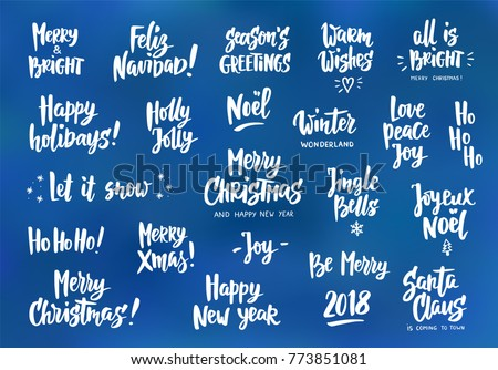 Set holiday greeting quotes wishes hand stock vector royalty free set of holiday greeting quotes and wishes hand drawn text brush lettering merry m4hsunfo