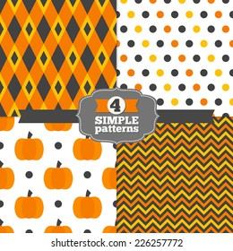 Set of Holiday Polka Dot and Chevron Patterns and Geometric Patterns with Rhombus and Pumpkins in Grey, Orange, Yellow and White. Perfect for Halloween and Thanksgiving Day