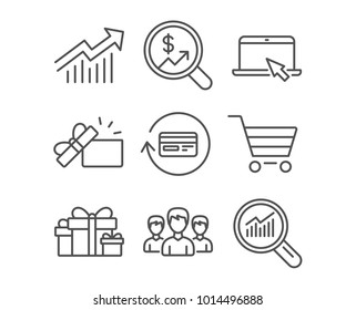 Set of Holiday presents, Opened gift and Portable computer icons. Group, Refund commission and Market sale signs. Demand curve, Currency audit and Data analysis symbols. Gift boxes. Present box