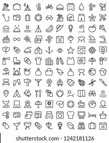 Set of Holiday Related Vector Line Icons
