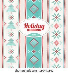 Set of holiday ribbons