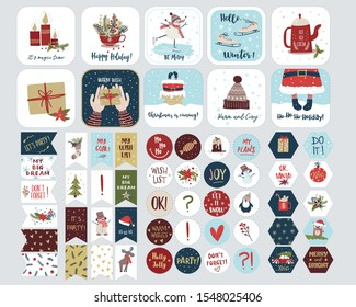 Set of  holiday stickers for planners and to do lists with cute Christmas illustrations and hand drawn lettering. Template collection for planners, schedules, agenda, diary and other stationery