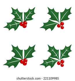 Set of holly berry Christmas symbols. Vector illustration
