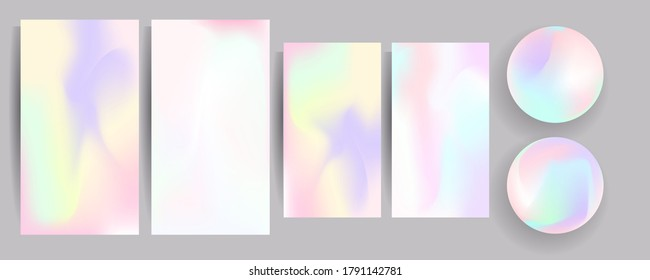 Set hologram gradient background 90s, 80s retro style. Pastel shades muted colors graphic template for brochure, banner minimal hologram gradient