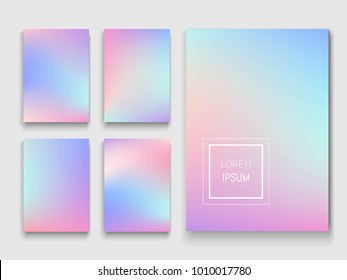 Set of holographic backgrounds. Vector illustration. Can be used for brochures, banners, postcards or other.