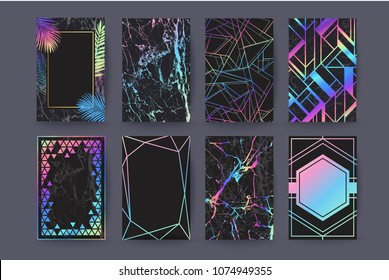 Set of holographic brochure, card, background, cover. Black marble texture. Geometric frame. Palm, exotic leaves.