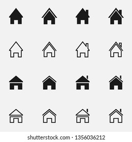 Set of home black and white vector icon.