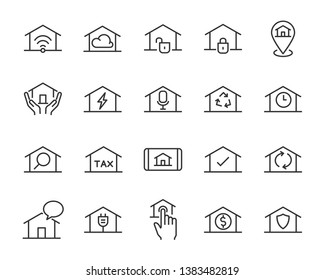 set of home icons, such as smart home, cloud, sale, wifi, tax, phone