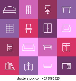 Set of home interior icons. Chair and furniture, sofa and room, bed and desk, vector illustration