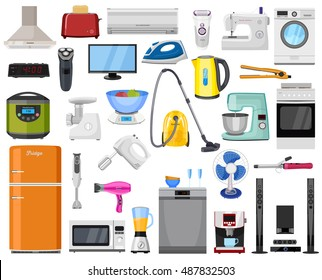 Set of Home, Kitchen and house electronics appliances. Various household equipment and facilities - major and small appliances, consumer electronics, kitchenware.
