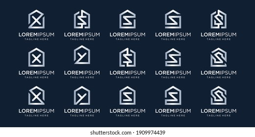 set of home logo combined with letter X, S, Y, designs Template.