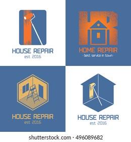 Set of home repair, house renovation vector icon, symbol, sign, logo, emblem.