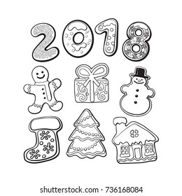Set of homemade gingerbread cookies - Christmas elements and 2018 numbers, sketch vector illustration isolated on white background. black and white gingerbread cookies - Xmas elements and 2018 numbers