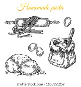 Set for homemade pasta. Rolling pin, bag of flour, eggs and dough. Engraving style. Vector illustration.