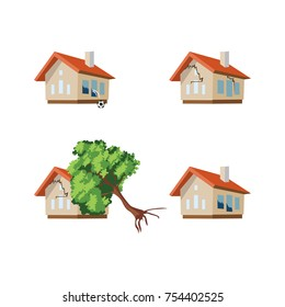 Set homes misfortune. Property insurance. Property insurance. Vector illustration