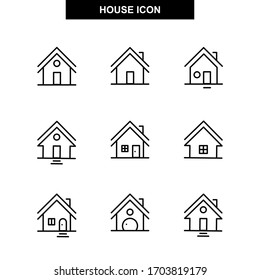 Set of homes thin line icons. House and home simple symbols