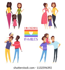 Set of homosexual families with children, gay and lesbian couples, lgbt flag isolated vector illustration