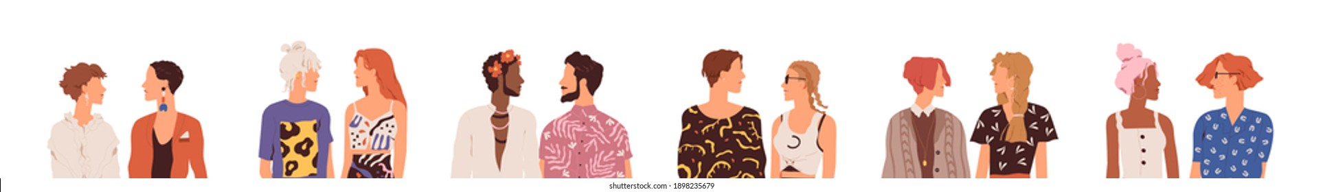 Set of homosexual and heterosexual parners. Collection of faceless couples. Young modern people talking and looking at each other. Colorful flat vector illustration isolated on white background