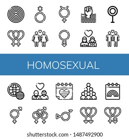 Set of homosexual icons such as World pride day, Lesbian, Genderqueer, Hermaphrodite, Androgyne, Transvestite, Gay, Bigender, Bisexual , homosexual