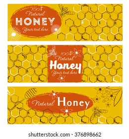 Set of honey banners with hand drawn sketch illustrations. Natural honey sketch background.