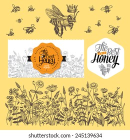 Set for honey and bee labels. Hand drawn illustrations. Vector Illustration.
