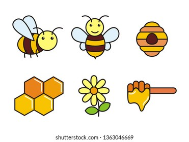 Set of honey and bee vector illustration. honey and bee icon