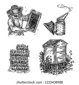 Set of honey. Beekeeper, smoker, honeycomb and wooden hive. Sketch. Engraving style. Vector illustration.