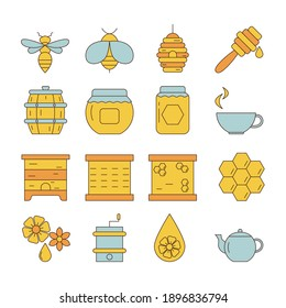 Set of honey and beekeeping icons. Honey industry.