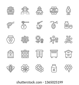 Set of Honey and Beekeeping Line Icons. Beekeeper, Wooden Barrel, Honeycombs, Protective Suit, Beehive, Apiary, Bee and more. Pack of 48x48 Pixel Icons
