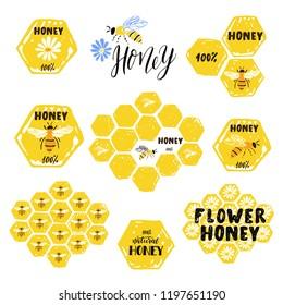 Set of honey labels, badges and design elements.  Flower honey. 100% honey. Bee. Honeycomb.