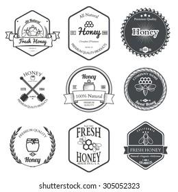 Set of Honey Labels Design Elements Vector Illustration