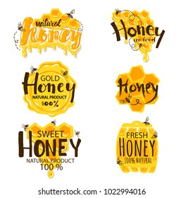 Set of Honey Labels isolated on white background.Vector illustration.