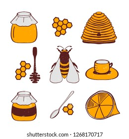 Set of honeycombs, beehive, bee, lemon, honey, tea, honey spoon illustration. Vector EPS10.