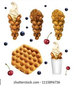 Set of Hong Kong waffles. Vector realistic illustration