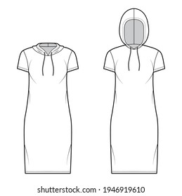 Set of Hoody dresses technical fashion illustration with short sleeves, knee length, oversized body, Pencil fullness. Flat apparel template front, white color style. Women, men, unisex CAD mockup