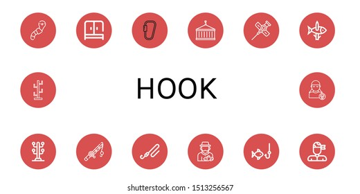 Set of hook icons such as Worm, Wardrobe, Carabiner, Crane, Cannula, Fishing, Coat stand, Fishing rod, Fisherman, Pirate , hook