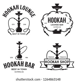 Set of hookah labels, badges and design elements. Hookah club. Shisha bar. Hookah lounge logo. Hookah pipes. Vector vintage illustration.