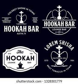 Set of hookah labels, badges and design elements. Hookah club. Shisha bar. Hookah lounge logo. Hookah pipes. Vector vintage illustration.